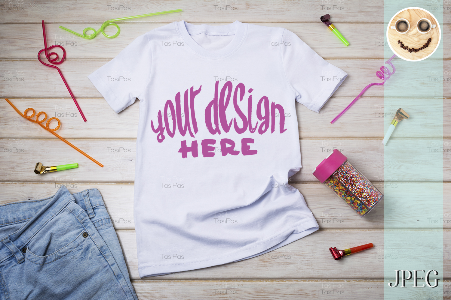 Download Free Kids T Shirt Mockup With Birthday Party Graphic By Tasipas for Cricut Explore, Silhouette and other cutting machines.