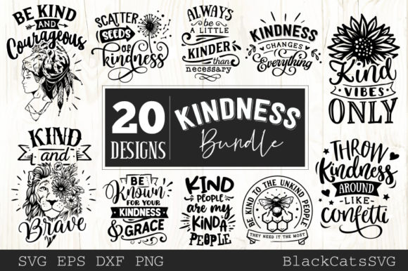 Kindness Bundle 20 Designs Grafik Plotterdateien von BlackCatsMedia