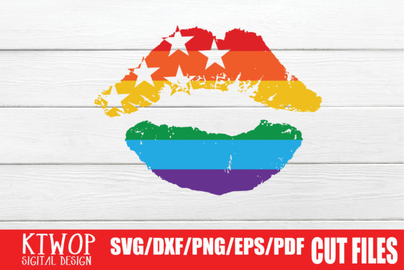 Print on Demand: LGBT Cut Files, Gay Pride Lips Graphic Crafts By KtwoP