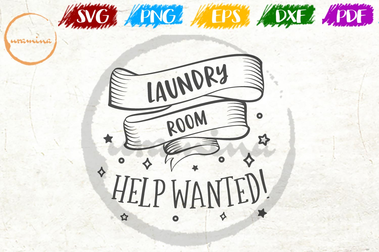 Download Free Laundry Room Help Wanted Graphic By Uramina Creative Fabrica for Cricut Explore, Silhouette and other cutting machines.