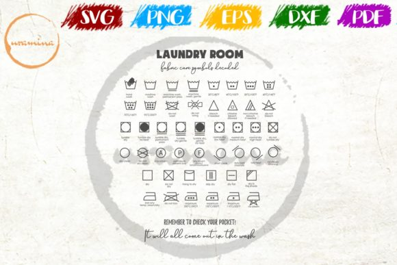 Download Free Laundry Room Remember To Check Graphic By Uramina Creative Fabrica for Cricut Explore, Silhouette and other cutting machines.