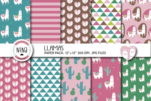 Llama Digital Paper Pack, Cactus Scrap Graphic Patterns By Nina Prints