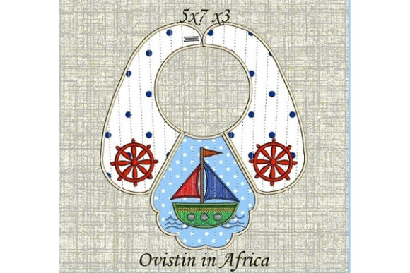 Lovely Nautical Baby Bib for Small Hoops Nursery Embroidery Design By Ovistin in Africa