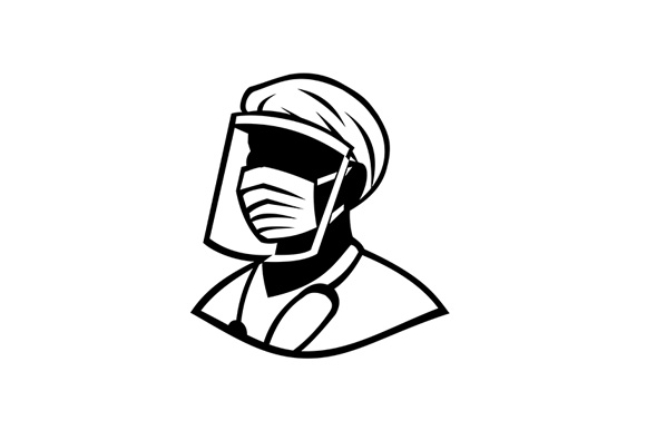 Download Free Medical Professional Wearing Face Mask Graphic By Patrimonio for Cricut Explore, Silhouette and other cutting machines.