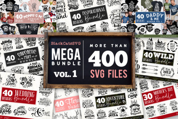 Mega Bundle 400 Designs Vol 1 Gráfico Crafts Por BlackCatsMedia