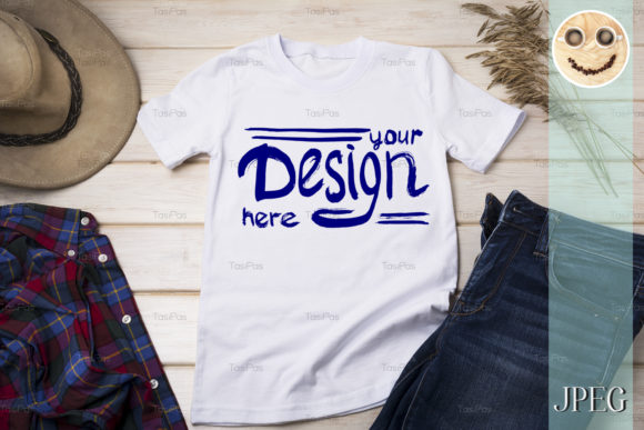 Print on Demand: Men's T-shirt Mockup with Cowboy Hat. Graphic Product Mockups By TasiPas