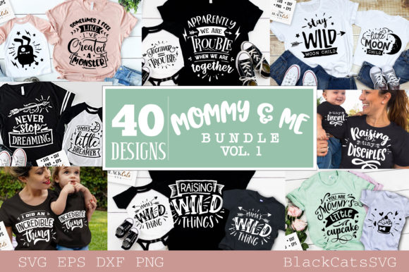 Mommy and Me Bundle 40 Designs Vol 2 Graphic Crafts By BlackCatsMedia
