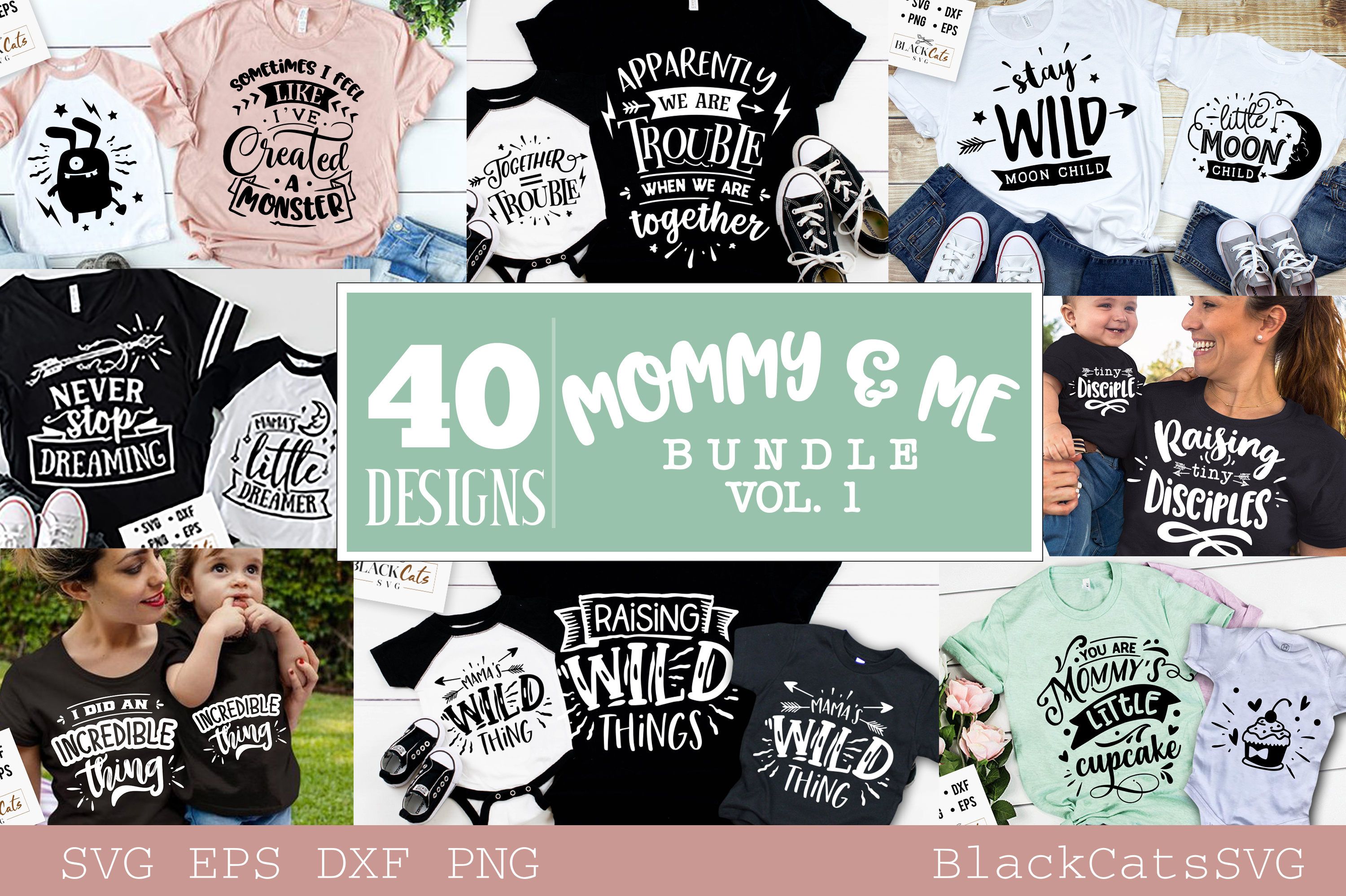 Download Free Mommy And Me Bundle 40 Designs Vol 2 Graphic By Blackcatsmedia for Cricut Explore, Silhouette and other cutting machines.