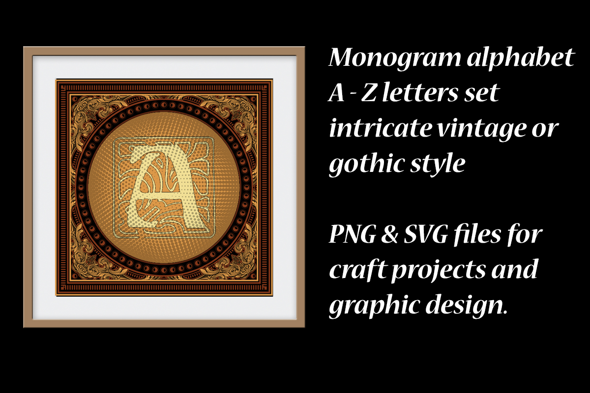 Download Free Monogram Alphabet Vintage Graphics Graphic By A Design In Time for Cricut Explore, Silhouette and other cutting machines.