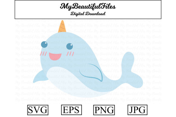 Print on Demand: Narwhal Cute Clipart Graphic Illustrations By MyBeautifulFiles