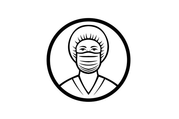 Download Free Nurse Wearing Surgical Mask Graphic By Patrimonio Creative Fabrica for Cricut Explore, Silhouette and other cutting machines.