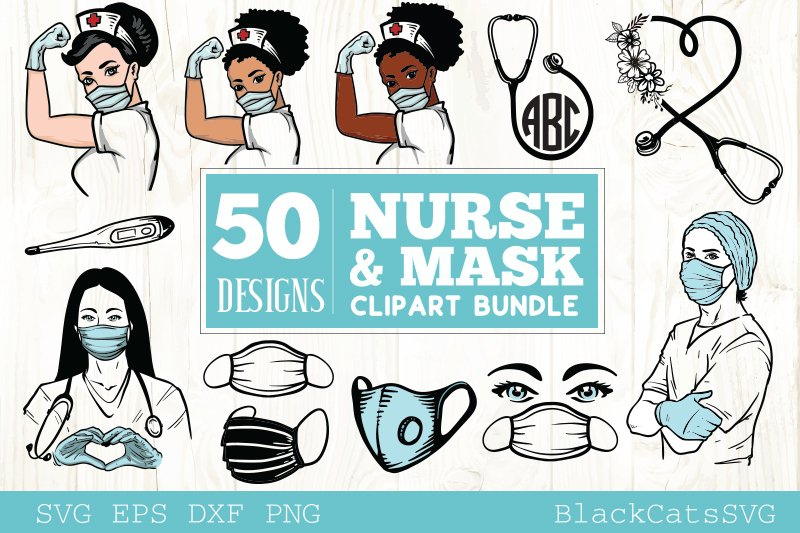 Download Free Nurse And Mask Bundle Cliparts Graphic By Blackcatsmedia for Cricut Explore, Silhouette and other cutting machines.