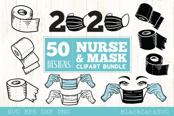 Nurse And Mask Bundle Cliparts Graphic By Blackcatsmedia