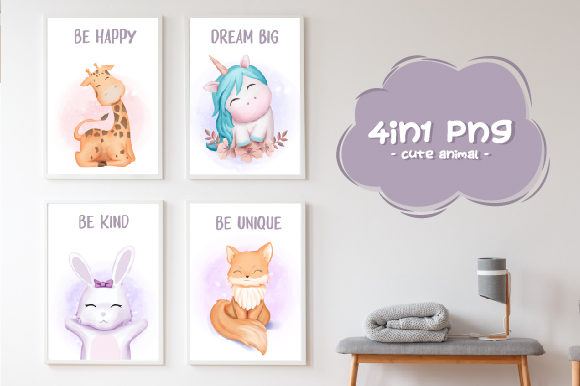 Download Free Nursery Art Cute Animal 4 In 1 Graphic By Alolieli Creative for Cricut Explore, Silhouette and other cutting machines.