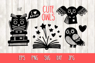 Owls and Books - Cut Files Graphic Crafts By NataliMyaStore