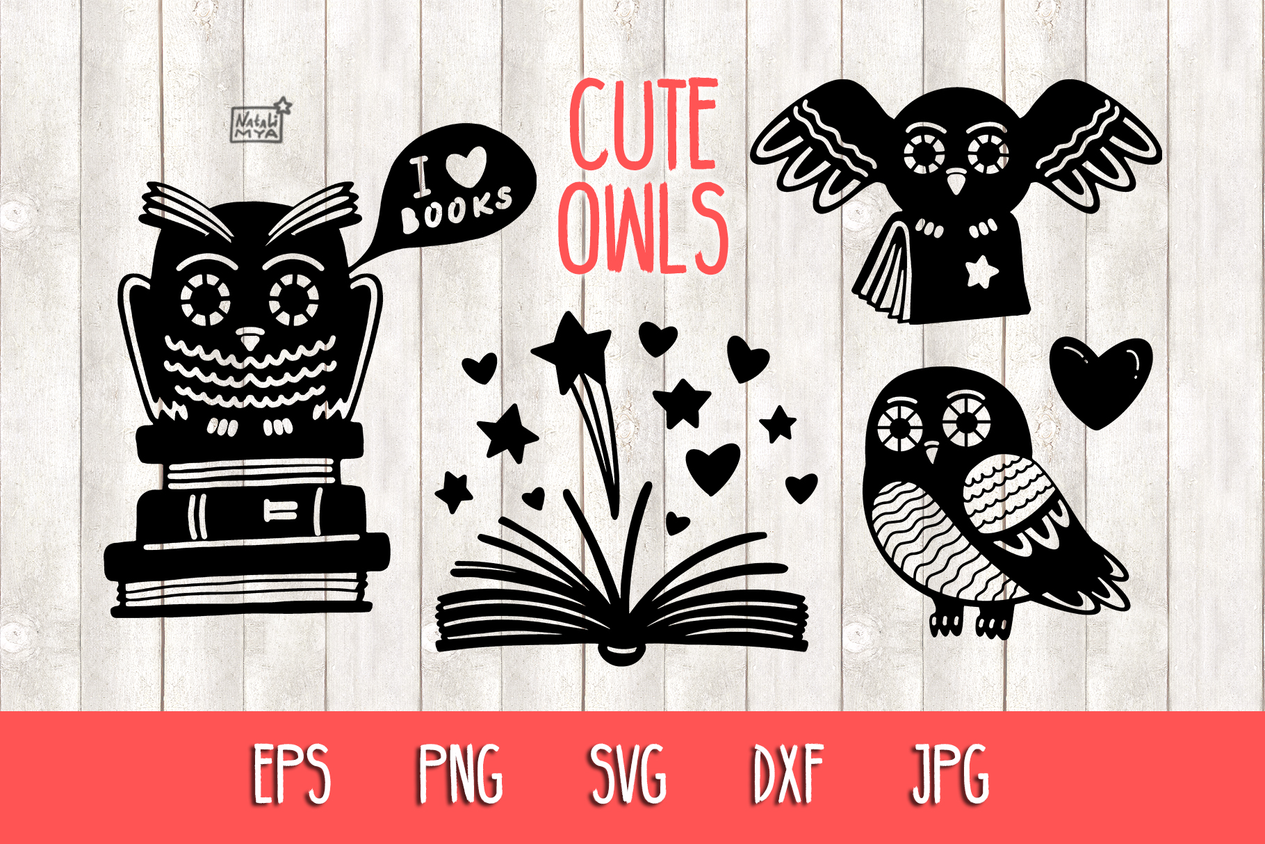 Download Free Owls And Books Cut Files Graphic By Natalimyastore Creative for Cricut Explore, Silhouette and other cutting machines.