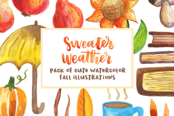 Pack of Watercolor Autumnal Illustration Graphic Illustrations By Sentimental Postman