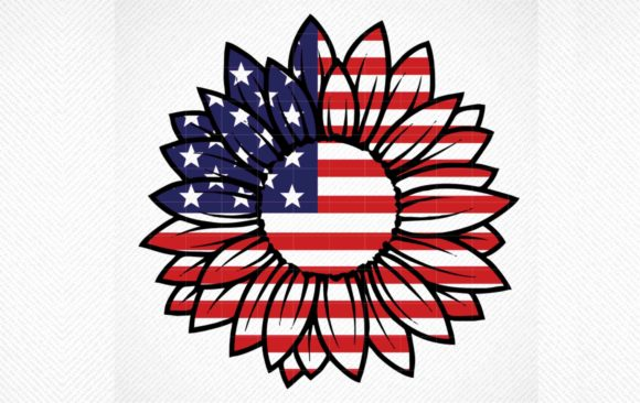 Print on Demand: Patriotic Sunflower, 4th of July  Gráfico Crafts Por SVG DEN