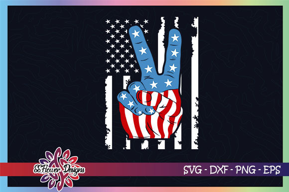 Peace Hand American Flag 4th of July Graphic Crafts By ssflower