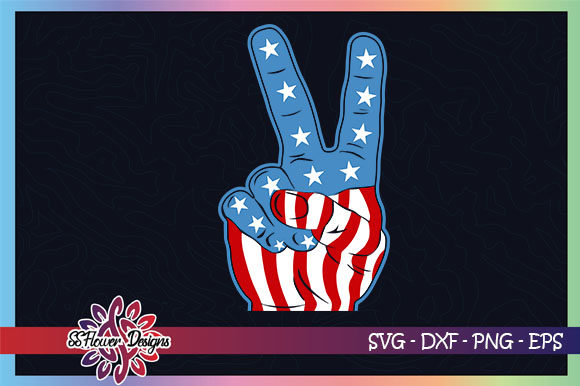 Peace Hand American Flag, USA Graphic Crafts By ssflower