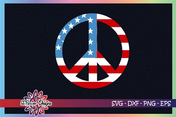 Peace Sign American Flag, 4th of July Graphic Crafts By ssflower