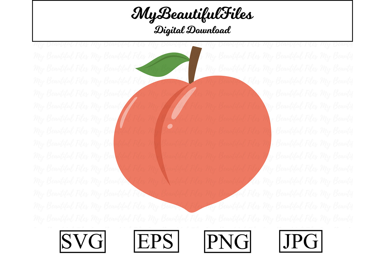 Download Free Peach Cute Clipart Graphic By Mybeautifulfiles Creative Fabrica for Cricut Explore, Silhouette and other cutting machines.