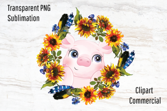 Print on Demand: Pig with Watercolor Sunflower Wreath Graphic Illustrations By Blueberry Jam Design