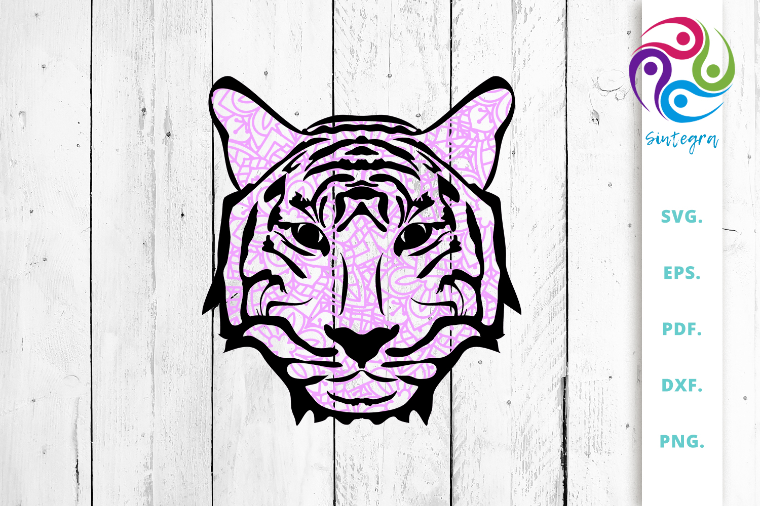 Download Free Pink Zentangle Tiger Face Cut File Graphic By Sintegra for Cricut Explore, Silhouette and other cutting machines.