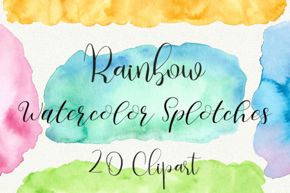 Rainbow Watercolor Splotches Clip Art Graphic Backgrounds By PinkPearly