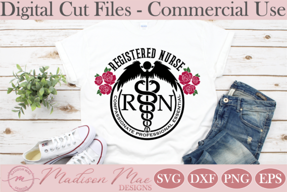 Download Free Registered Nurse Symbol With Roses Graphic By Madison Mae Designs Creative Fabrica for Cricut Explore, Silhouette and other cutting machines.