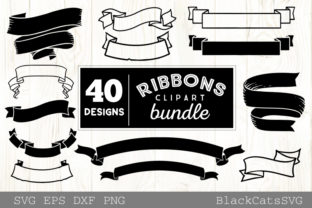 Print on Demand: Ribbons Clipart Bundle 40 Designs Graphic Crafts By BlackCatsMedia