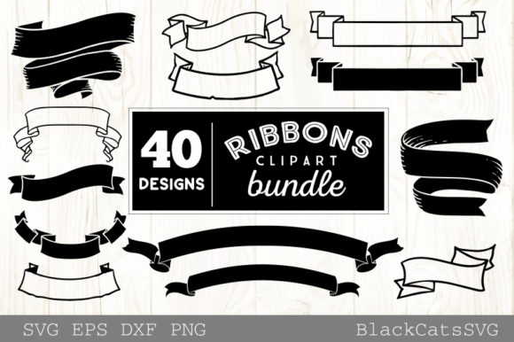 Ribbons Clipart Bundle 40 Designs Graphic Crafts By BlackCatsMedia