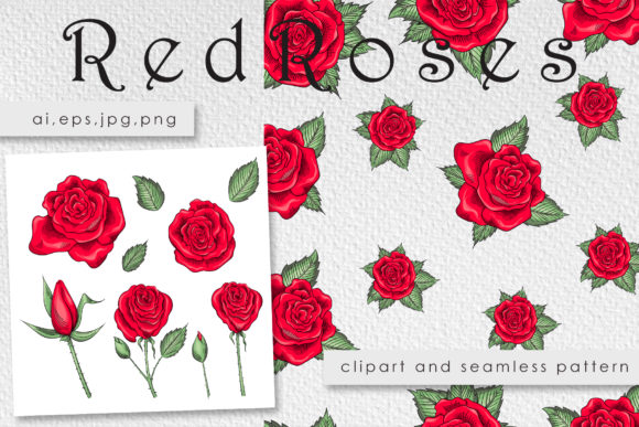 Download Free Roses Clipart And Seamless Patterns Graphic By Gennadii Art for Cricut Explore, Silhouette and other cutting machines.
