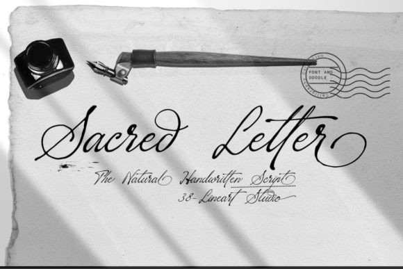 Print on Demand: Sacred Letter Script & Handwritten Font By 38.lineart