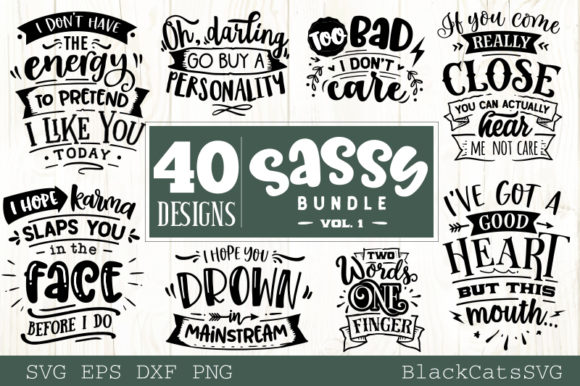 Sassy Bundle 40 Designs Graphic Crafts By BlackCatsMedia