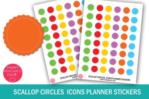Download Free Scallop Circles Icons Planner Stickers Graphic By Happy for Cricut Explore, Silhouette and other cutting machines.