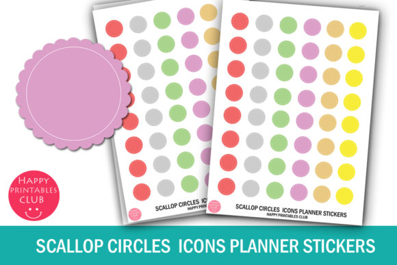 Print on Demand: Scallop Circles Stickers Planner Icons Graphic Crafts By Happy Printables Club