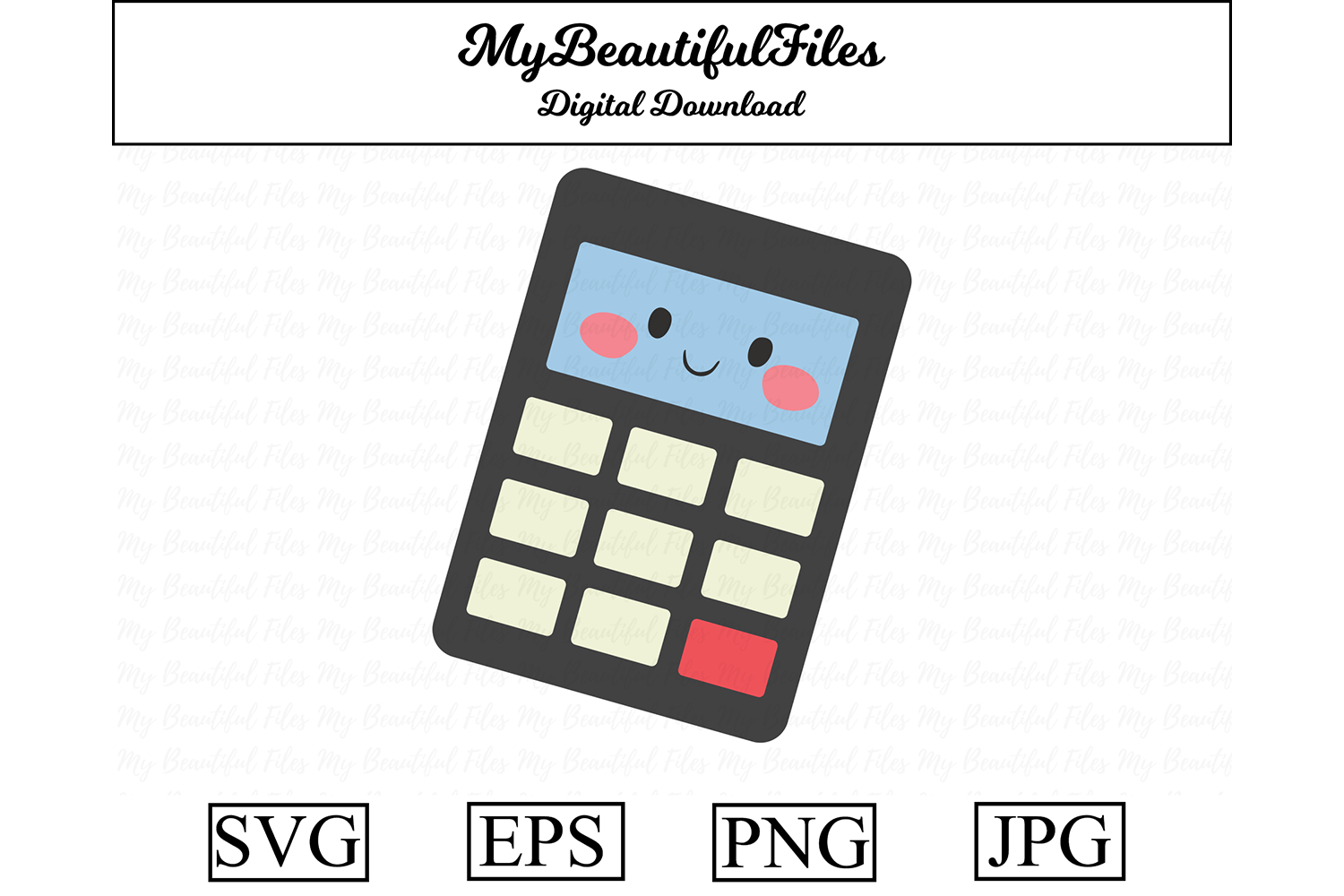Download Free School Calculator Kawaii Clipart Graphic By Mybeautifulfiles Creative Fabrica for Cricut Explore, Silhouette and other cutting machines.