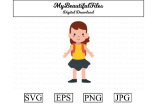 Download Free School Girl With Bag Kawaii Clipart Graphic By Mybeautifulfiles for Cricut Explore, Silhouette and other cutting machines.
