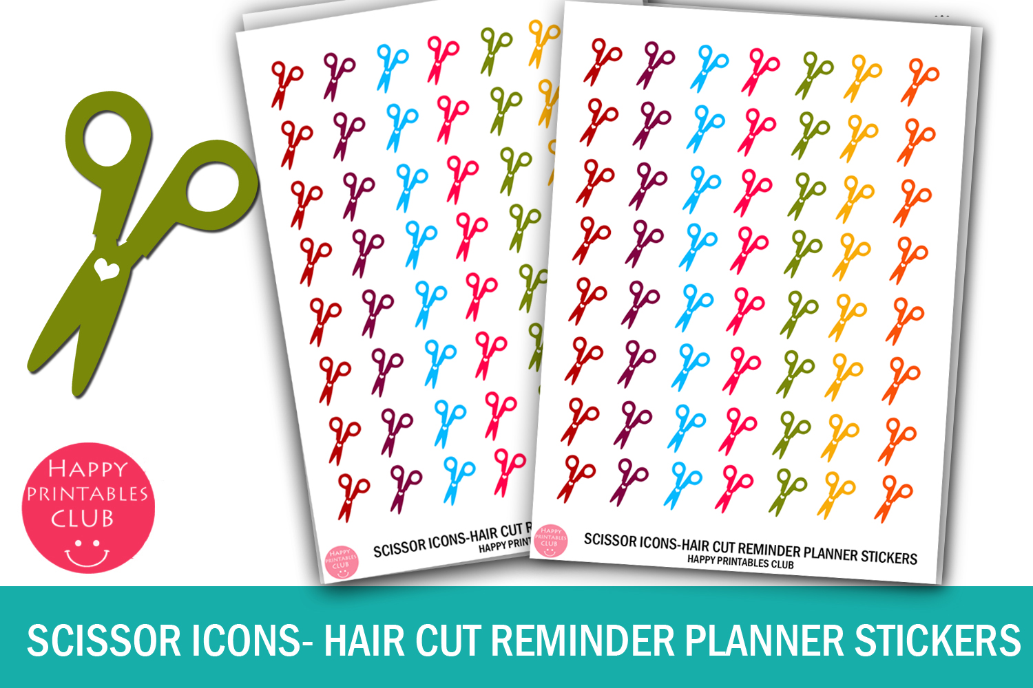 Download Free Scissor Icons Hair Cut Reminder Planner Graphic By Happy for Cricut Explore, Silhouette and other cutting machines.