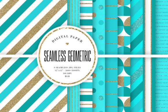Print on Demand: Sea Blue & Glitter Seamless Patterns Graphic Backgrounds By Sabina Leja