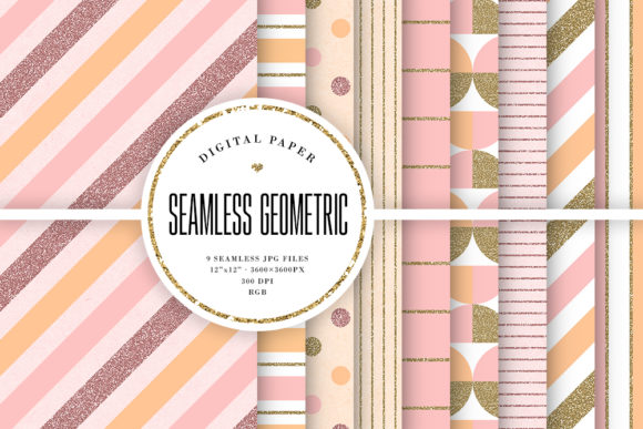 Print on Demand: Seamless Pastel Geometric Patterns Graphic Patterns By Sabina Leja