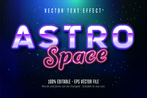 Print on Demand: Space Neoneon Style Text Effect Graphic Graphic Templates By Mustafa Bekşen