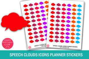 Speech Clouds Icons Planner Stickers Graphic Crafts By Happy Printables Club