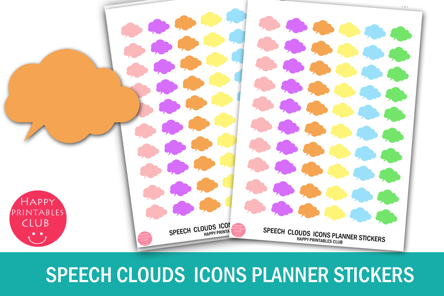 Download Free Speech Clouds Icons Planner Stickers Grafico Por Happy for Cricut Explore, Silhouette and other cutting machines.