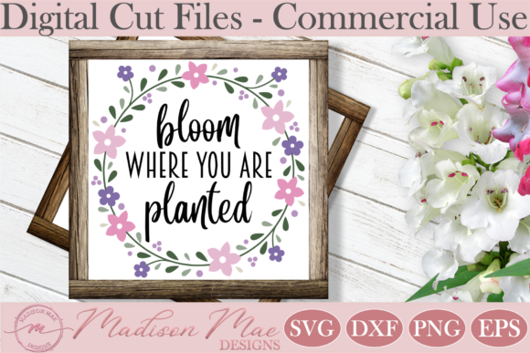 Spring, Bloom Where You Are Planted Graphic Crafts By Madison Mae Designs