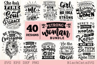Print on Demand: Strong Woman Bundle 40 Designs Grafik Plotterdateien von BlackCatsMedia