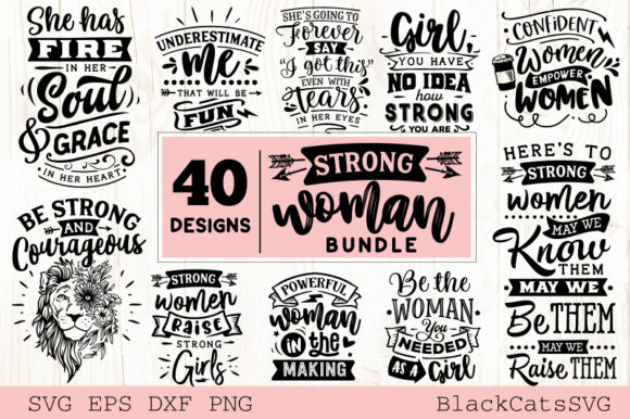 Strong Woman Bundle 40 Designs Grafik Plotterdateien von BlackCatsMedia