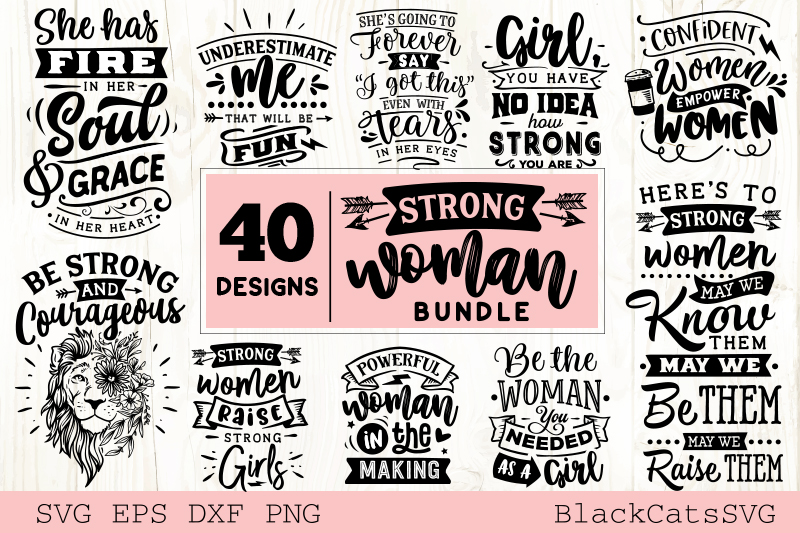 Download Free Strong Woman Bundle 40 Designs Graphic By Blackcatsmedia for Cricut Explore, Silhouette and other cutting machines.