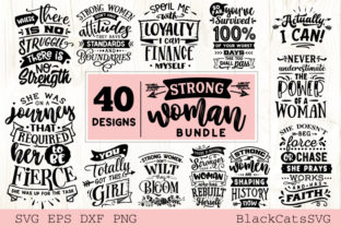 Print on Demand: Strong Woman Bundle 40 Designs Graphic Crafts By BlackCatsMedia 2